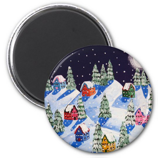 Silent Night Winter Folk Art Magnet