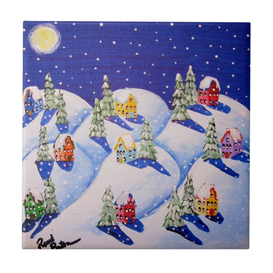 Silent Night Winter Folk Art Small Square Tile