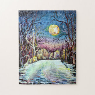 Silent Night Winter Full Moon in Sweden Jigsaw Puzzle