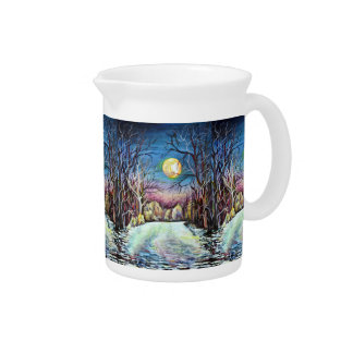 Silent Night Winter Full Moon in Sweden Pitcher