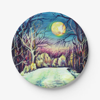 Silent Night Winter Full Moon Paper Plate