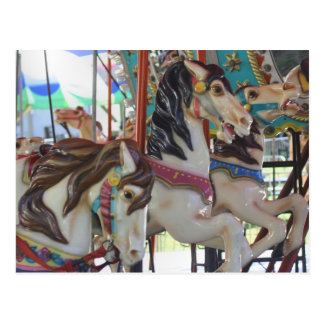 Silent Prancers Carousel Horse Photo Postcard