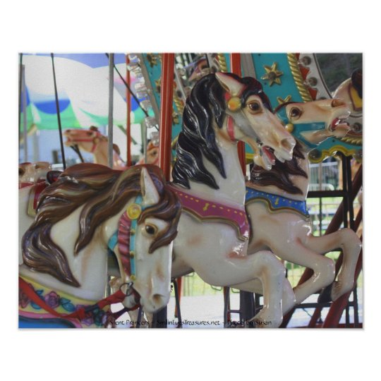 Silent Prancers Carousel Horses Photography Poster