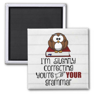 Silently Correcting Your Grammar Sarcastic Owl Magnet