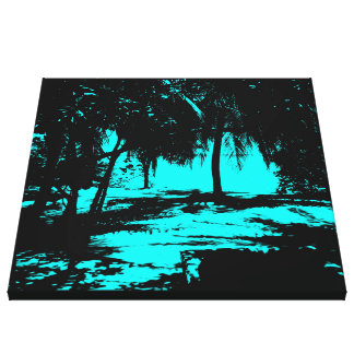 Silhouette 02 aqua stretched canvas print