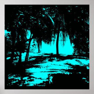 Silhouette 02 aqua print