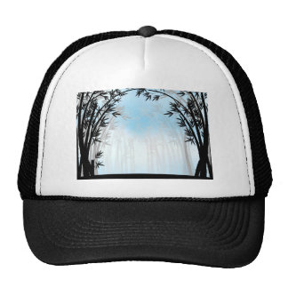 Silhouette bamboo jungle with fog cap