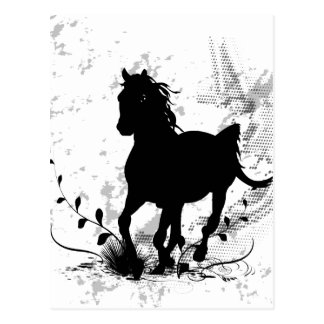 Silhouette, black horse postcard