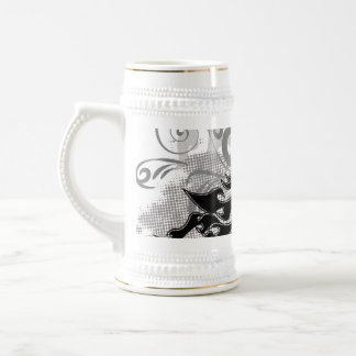 Silhouette, black lion head with flames mugs