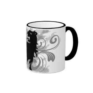 Silhouette, black lion head with flames coffee mug