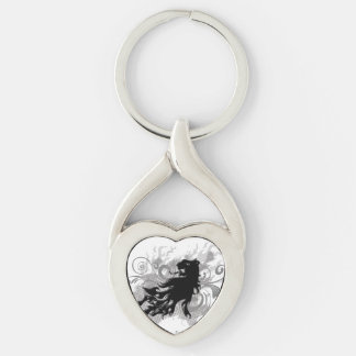 Silhouette, black lion head with flames Silver-Colored twisted heart key ring