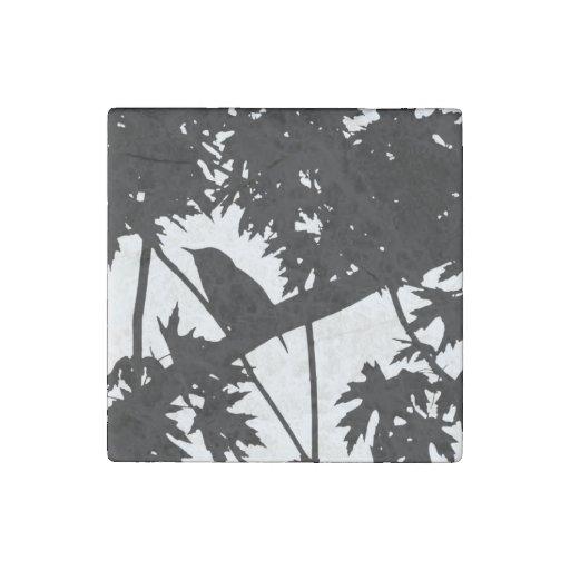 Silhouette Black & White house Wren in Maple Tree Stone Magnet
