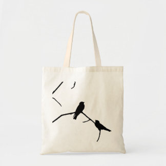 Silhouette Black & White Swallow Pair Budget Tote Bag
