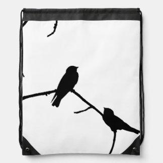Silhouette Black & White Swallow Pair Drawstring Backpack