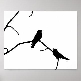 Silhouette Black & White Swallow Pair Poster