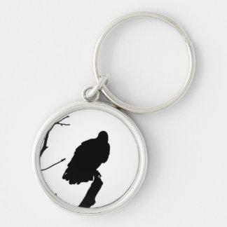 Silhouette Black White Vulture Bird of Prey Key Chains