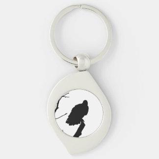 Silhouette Black White Vulture Bird of Prey Key Chain