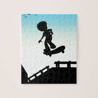 Silhouette boy skateboarding on the street puzzle