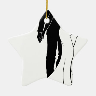 Silhouette Bride and Groom Wedding Couple Christmas Ornament