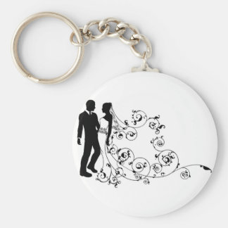 Silhouette bride and groom wedding couple key chains