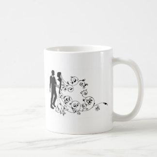 Silhouette bride and groom wedding couple coffee mug