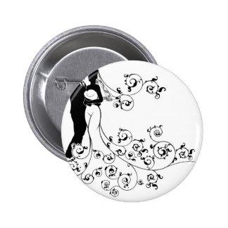 Silhouette Bride and Groom Wedding Illustration 6 Cm Round Badge