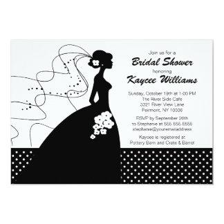 """Silhouette Bride Bridal Shower Invite 5"""" X 7"""" Invitation Card"""