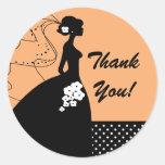Silhouette Bride Thank You Bridal Shower Sticker