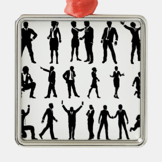 Silhouette Business People Set Silver-Colored Square Decoration