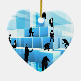 Silhouette Business Team People Building Blocks Ceramic Heart Decoration