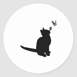 Silhouette Cat Round Sticker