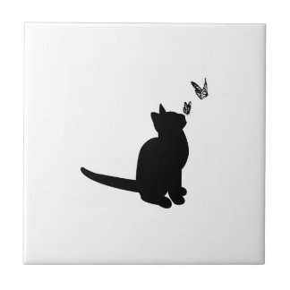 Silhouette Cat Tile