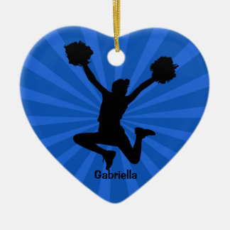 Silhouette Cheer Heart Shaped Christmas Ornament