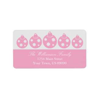Silhouette Christmas Ornaments Labels (Pink)