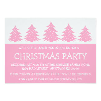 "Silhouette Christmas Tree Invitations (Pink) 5"" X 7"" Invitation Card"