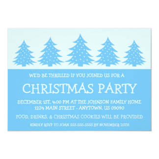 "Silhouette Christmas Tree Invitations (Sky Blue) 5"" X 7"" Invitation Card"