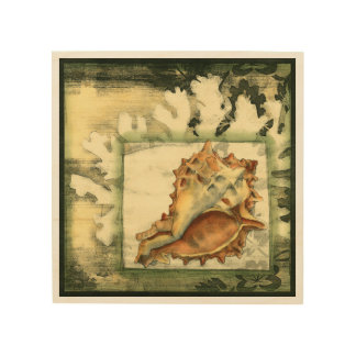 Silhouette Conch Shell Wood Print
