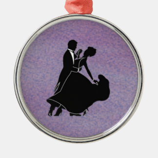 Silhouette Dancers Silver-Colored Round Decoration