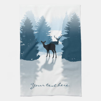 Silhouette Deer Forest Kitchen Towel