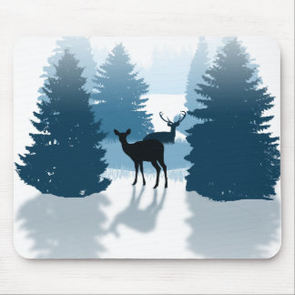 Silhouette Deer Forest Mousepad