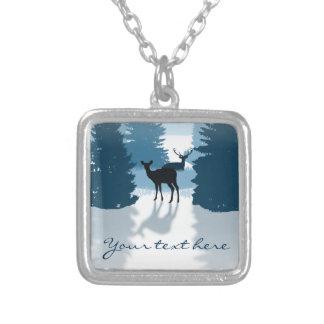 Silhouette Deer Forest Pendant