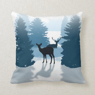 Silhouette Deer Forest Pillows