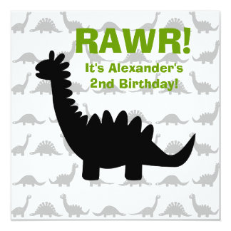 Silhouette Dinosaur Dino Birthday Invitation