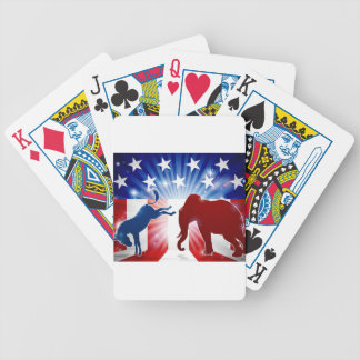 Silhouette Elephant Fighting Donkey Bicycle Playing Cards