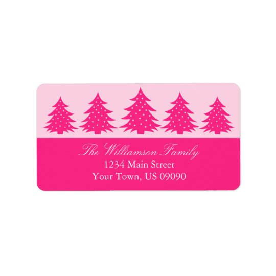 Silhouette Evergreen Trees Address Labels Hot Pink