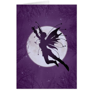 Silhouette Fairy Flying w/ Moon Birthday Card