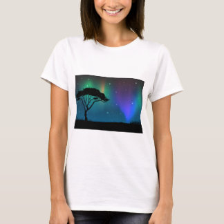 Silhouette field with aurora sky at night T-Shirt