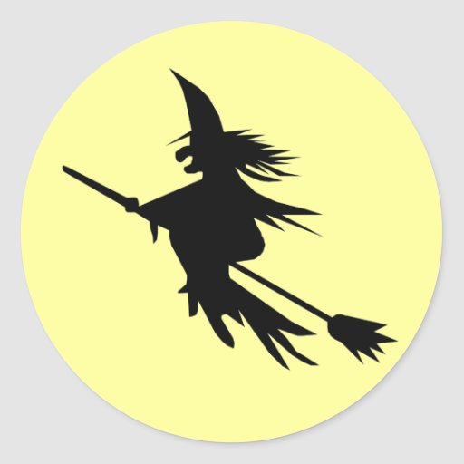 Silhouette Flying Witch Halloween Stickers