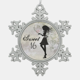 Silhouette Girl and Hearts Sweet 16 Ornament