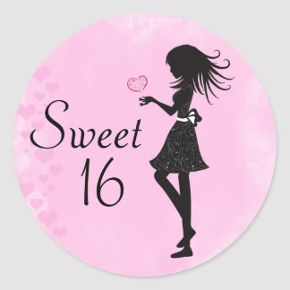 Silhouette Girl and Hearts Sweet 16 Stickers